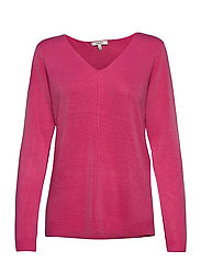 BYMALEA V NECK JUMPER - - SHOCKING PINK