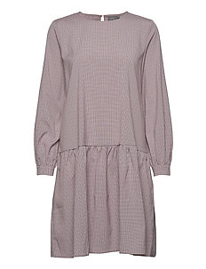 BXJUNA PEPLUM DRESS - warm rose check