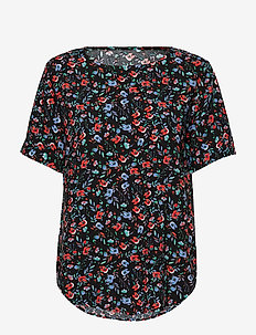 BYHAILEY O-NECK BLOUSE - - bluzki z krótkim rękawem - black small flower combi 3