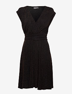 BYSELINA DRESS - - BLACK W. COPPER COMBI