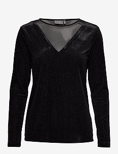 BYRED PULLOVER - - long sleeved blouses - black w. silver