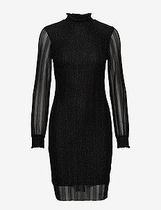BYREANNA DRESS - - BLACK W. SILVER LUREX