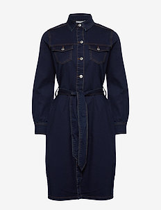 BYLIKA DRESS W BELT - - shirt dresses - dark rinse blue