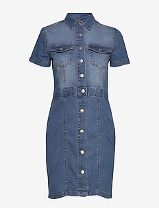 BYLIKA SS DRESS - - shirt dresses - med. blue denim