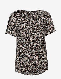 BYISOLE ONECK BLOUSE - - blouses korte mouwen - black combi 1