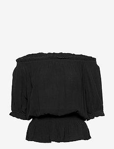 BYHILDA TOP - - blouses korte mouwen - black