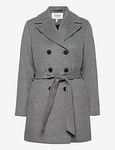 BYABIA COAT - - uldfrakker - med. grey mel.