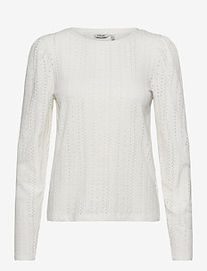 BYPIANNA LACE TSHIRT - - long-sleeved tops - off white