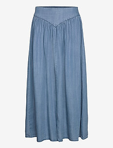 BYLANA LONG SKIRT - - jeanskjolar - mid blue denim