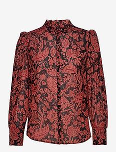 CHEMISE ABI - blouses à manches longues - brique