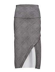 Wrap sweat skirt - GREY CHECKED