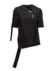 Monogram woven t-shirt - BLACK