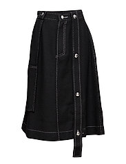 Button worker skirt - BLACK