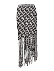 Knit fringe skirt - DOGTOOTH