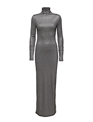 Rib polo dress - SILVER LUREX