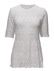 U FLAP T-SHIRT - WHITE LACE