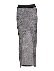 ROUND LONG SKIRT - GREY MELANGE