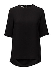 BACK SPLIT WOVEN T-SHIRT - BLACK