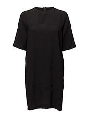 U SPLIT T-SHIRT DRESS - BLACK