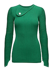 KNIT ABSTRACT LS TOP - GREEN