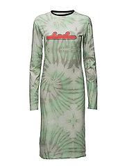 Print LS dress - AOP TIEDYE GREEN