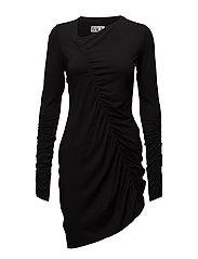 Gather dress jersey - BLACK
