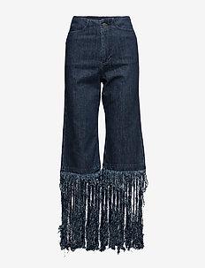 Fringed jeans - DARK BLUE