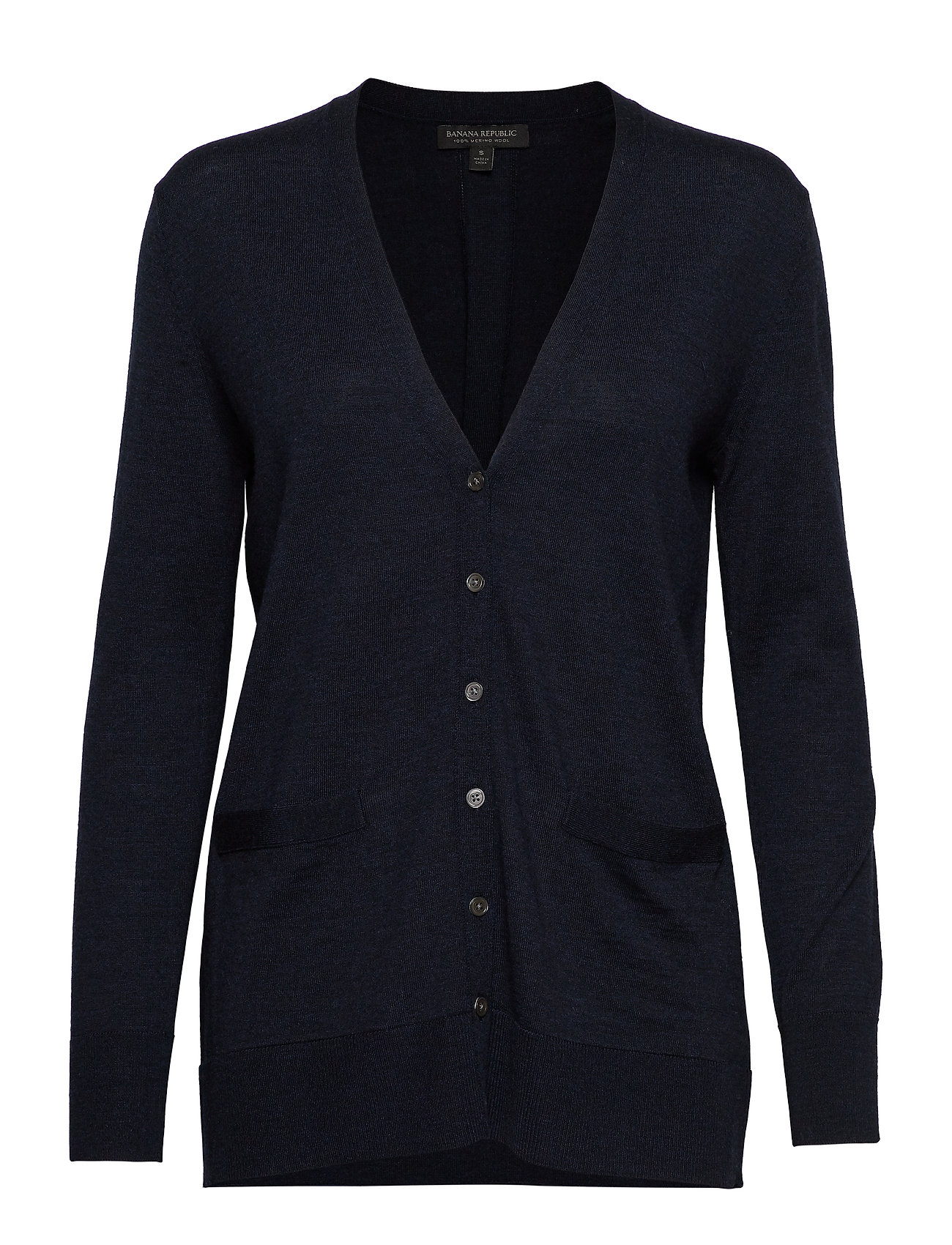 Banana Republic Washable Merino Boyfriend Cardigan Sweater - BASIC NAVY