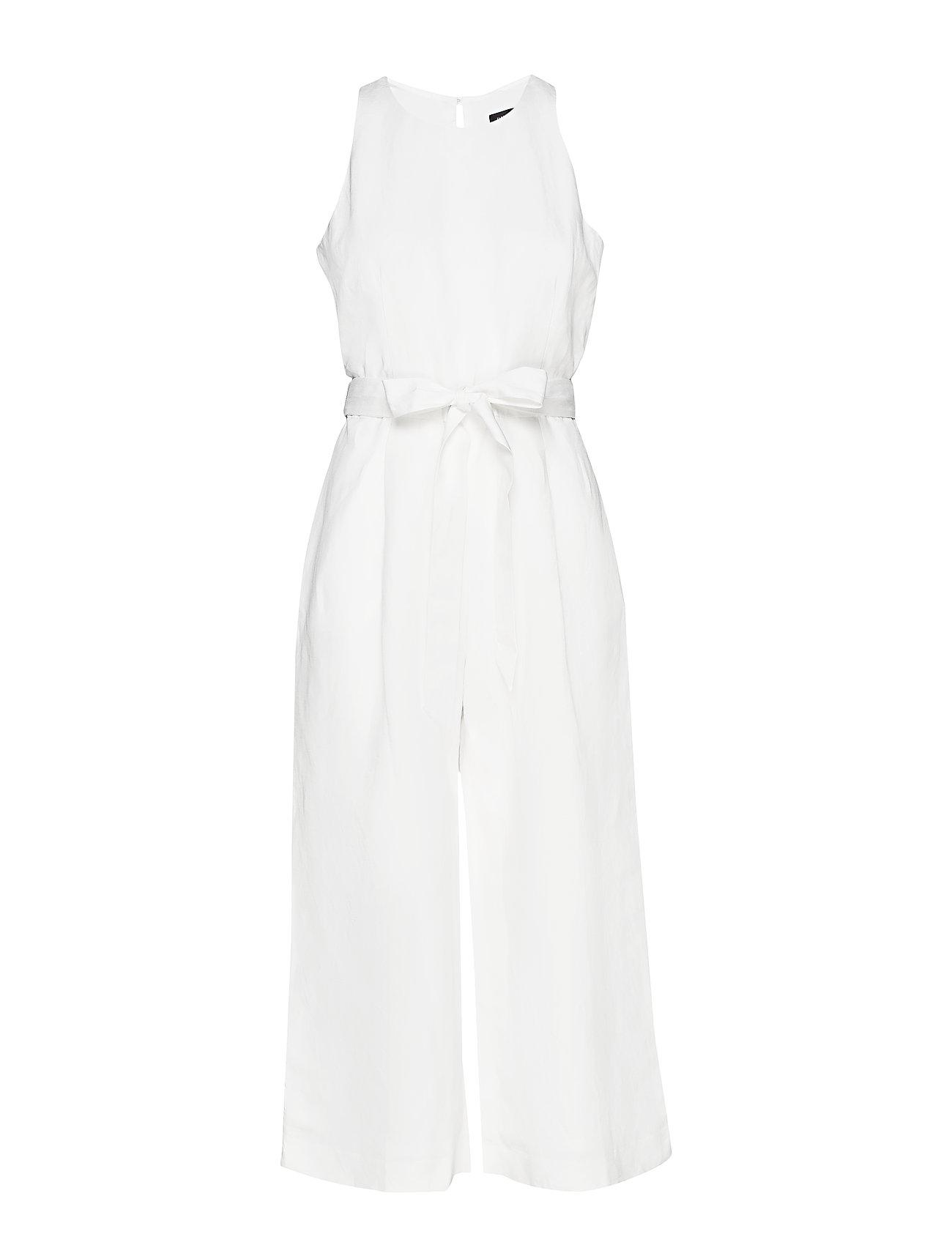 Image of Sl Cropped Linen Belted Jumpsuit Jumpsuit Hvid BANANA REPUBLIC (3185583871)