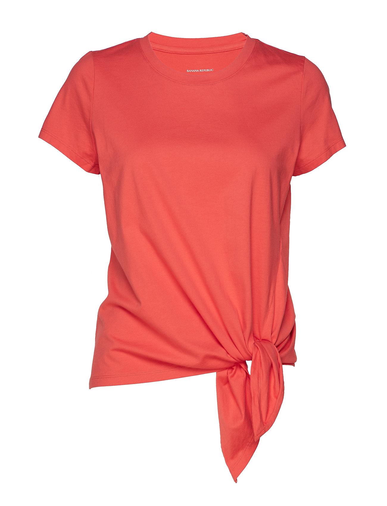 Banana Republic SUPIMA® Cotton Tie-Hem T-Shirt - HOT RED