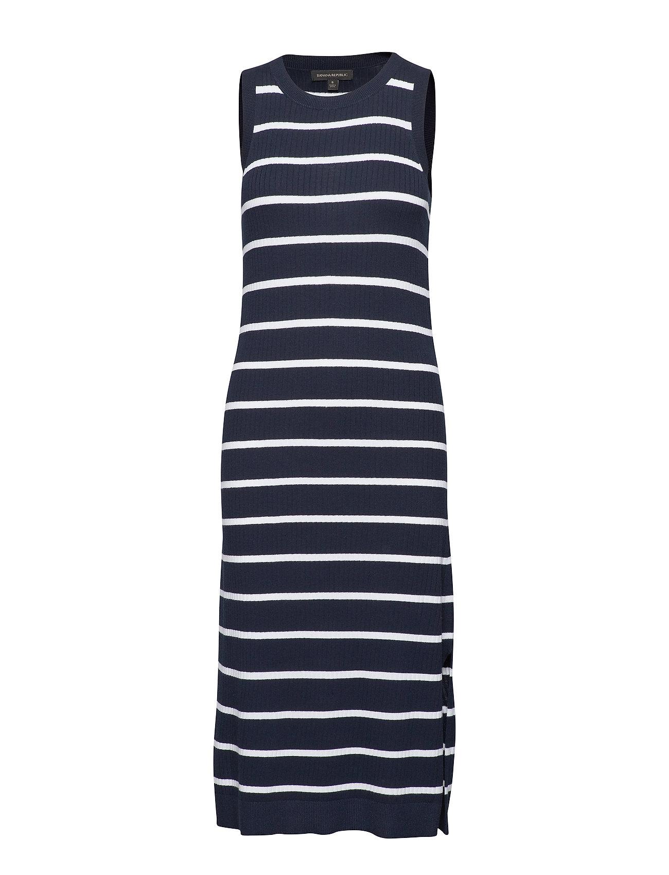 edca4e002c Sl Rib Column Sweater Dress Stripe (Preppy Navy) (£65) - Banana ...