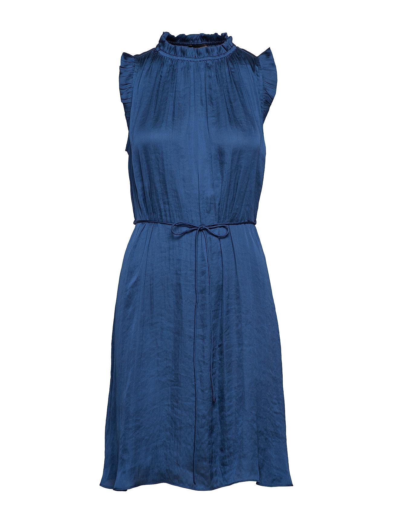 Banana Republic Soft Satin Ruffled Dress - INDIGO FOG GLOBAL