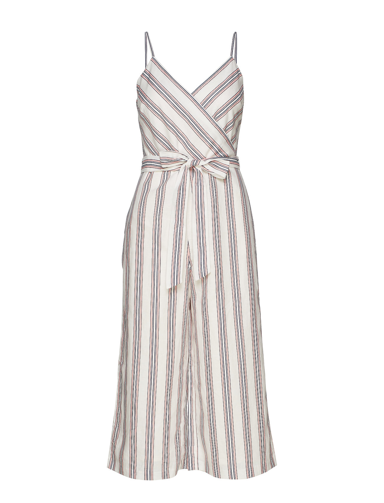 Banana Republic SL WRAP TOP CROPPED JUMPSUIT STRIPE - WHITE WITH RED STRIPE