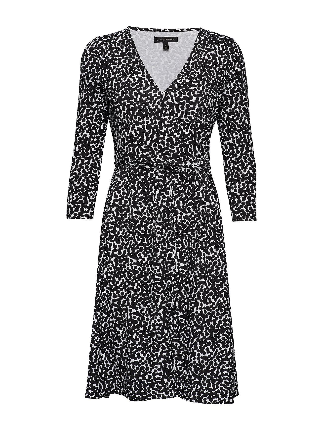 Banana Republic Printed Soft Ponte Wrap Dress - BLACK DOT GLOBAL