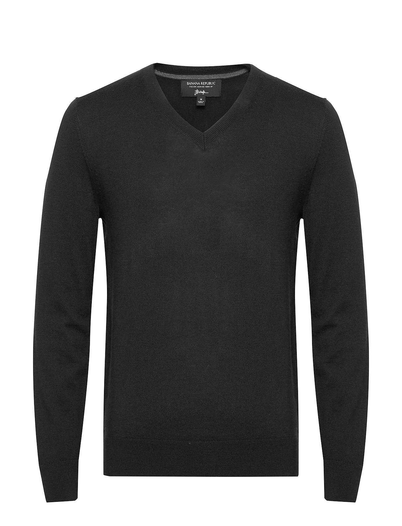 Banana Republic Italian Merino V-Neck Sweater - BLACK