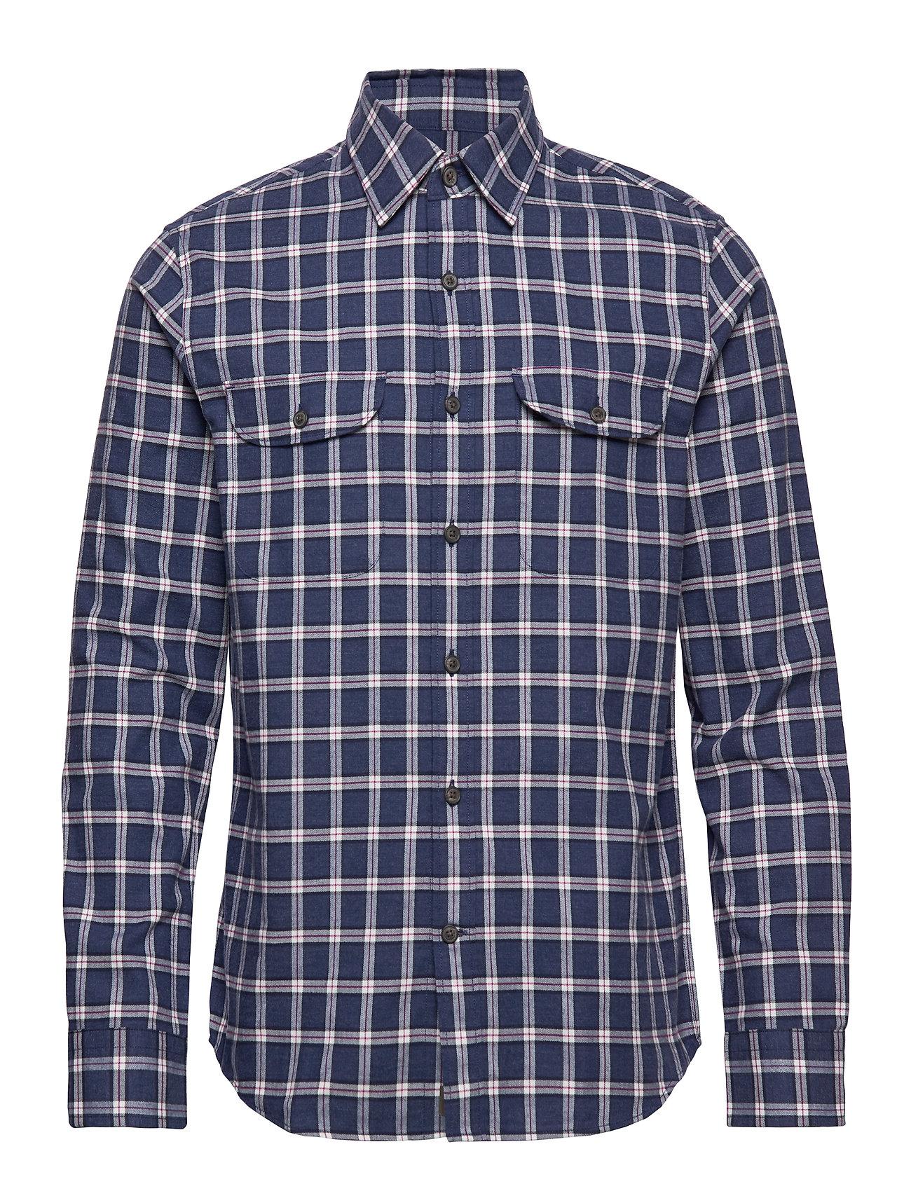Banana Republic Untucked Slim-Fit Flannel Shirt - PURPLE/BLUE2