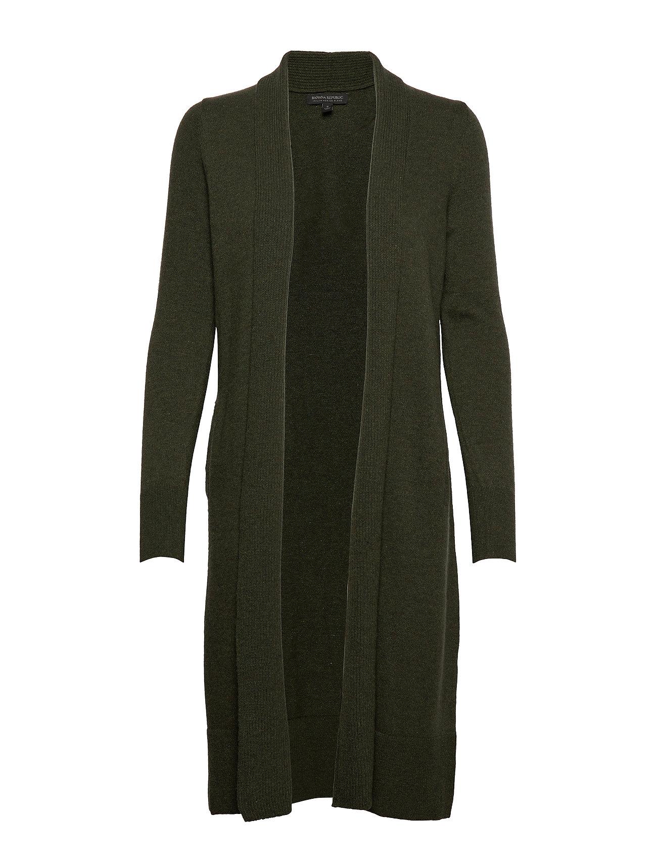Banana Republic Italian Wool-Blend Duster Cardigan - FOREST GREEN 907