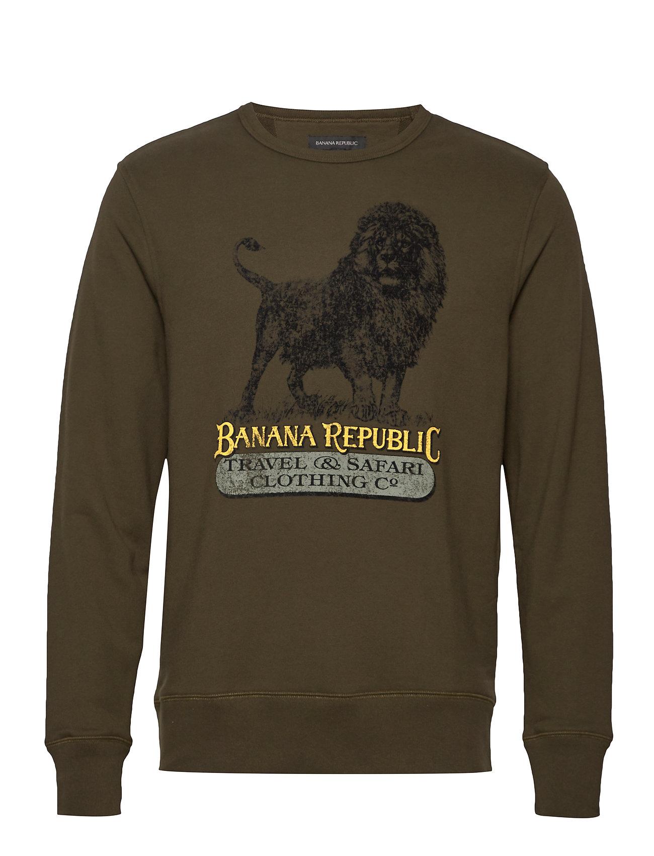 Banana Republic I TERRY SWEATSHIRT LION GRAPHIC CREW - ADIRONDACK GREEN