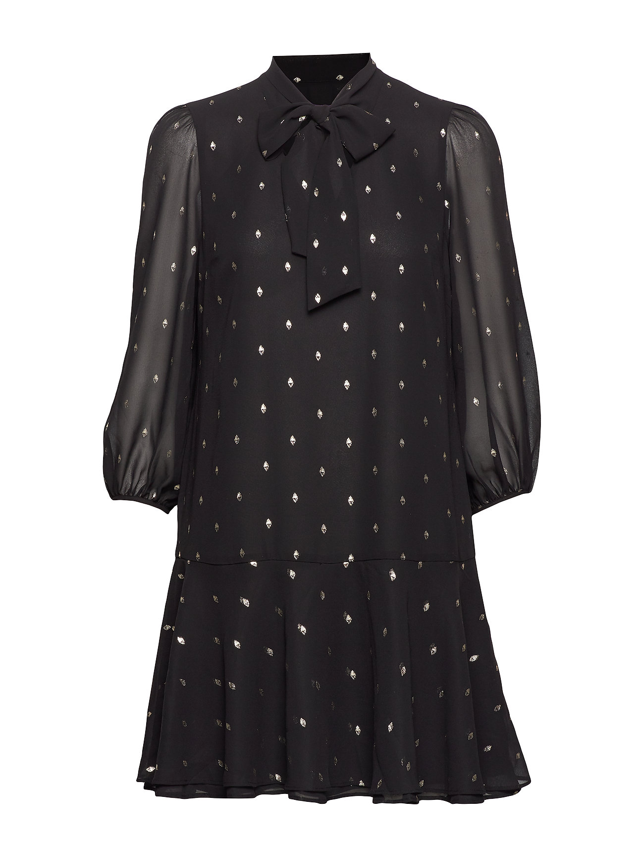 Banana Republic Metallic Dot Tie-Neck Dress - BLACK/GOLD