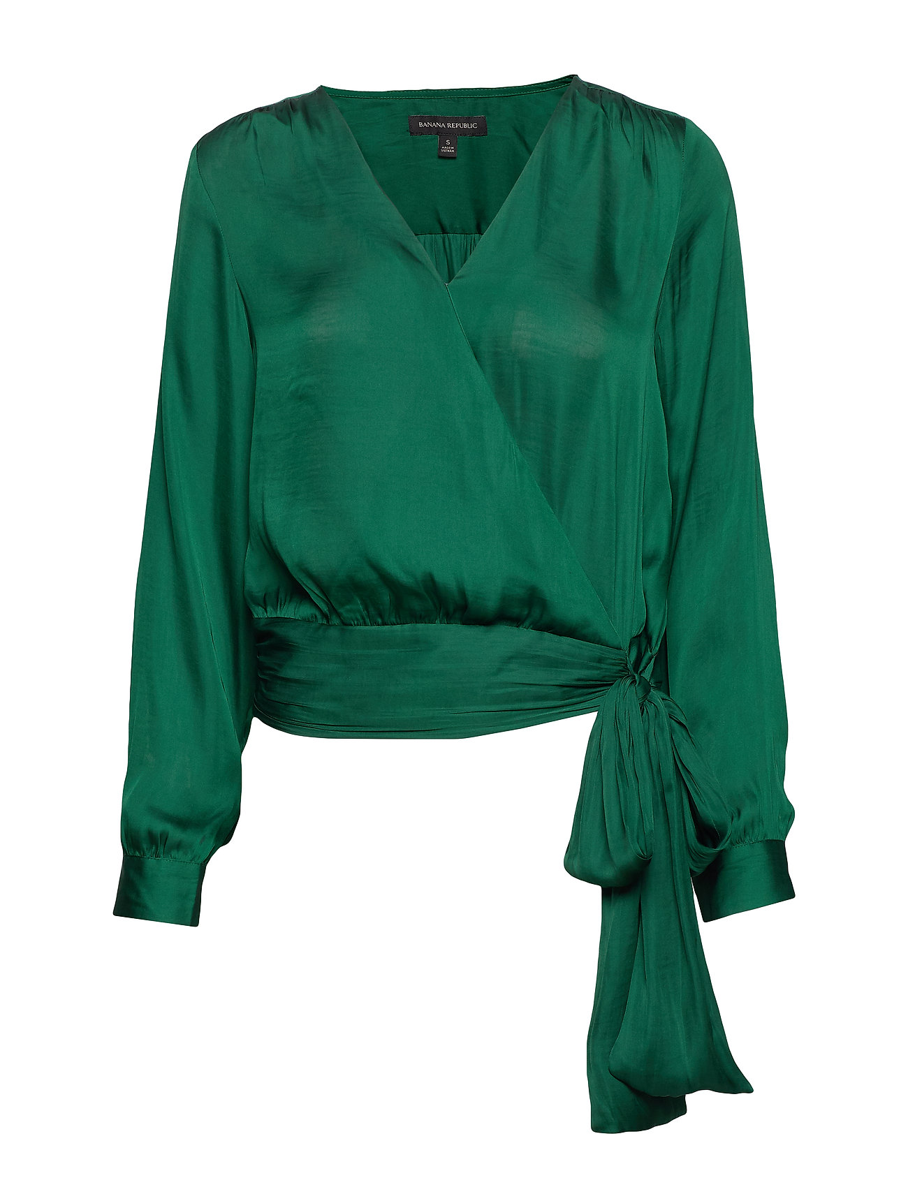 Banana Republic Soft Satin Puff-Sleeve Top - JEWELED GREEN