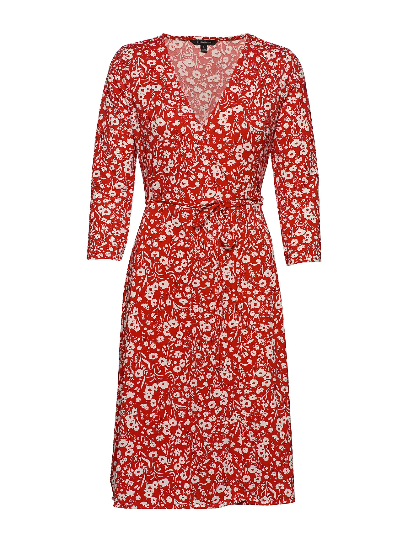 Banana Republic Print Wrinkle-Resistant Wrap Dress - PINK FLORAL