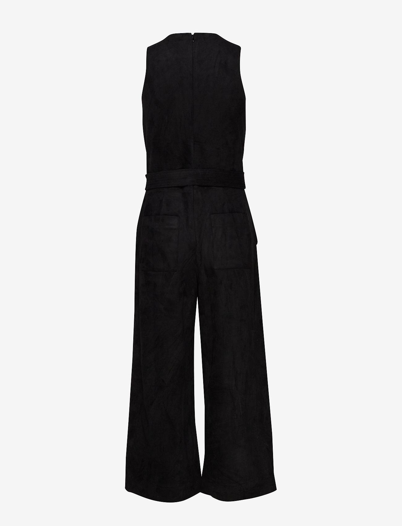 Vegan Suede Cropped Wide-leg Jumpsuit (Black K-100) - Banana Republic eZBeeE
