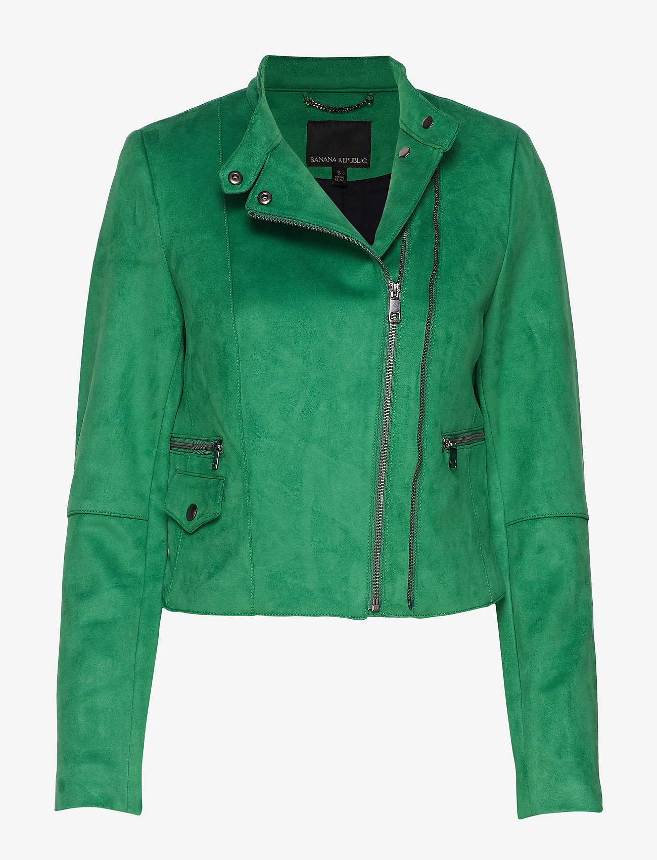 Banana Republic - Vegan Suede Biker Jacket - leather jackets - bright green - 0