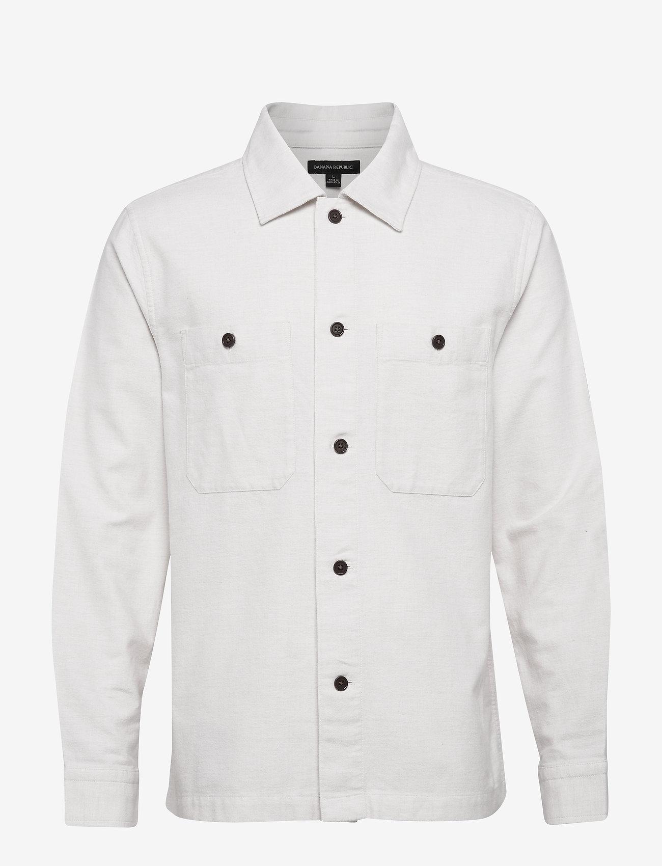Banana Republic - Slim-Fit Flannel Shirt Jacket - windjassen - ecru - 0
