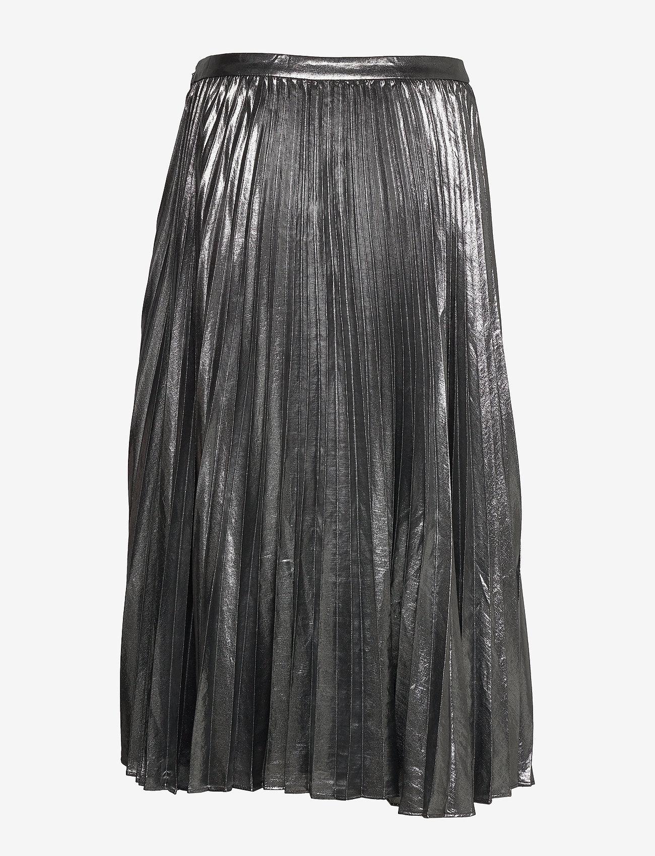 Banana Republic - Metallic Pleated Midi Skirt - midi skirts - dark charcoal - 1
