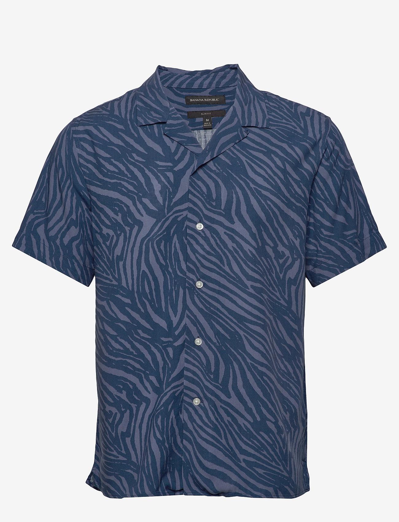 Banana Republic - Slim Soft Camp Shirt - lyhythihaiset paidat - navy