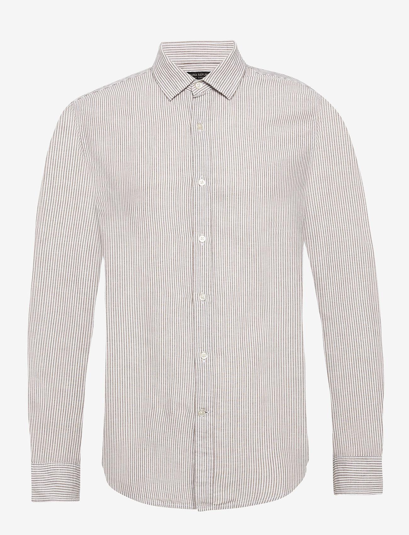 Banana Republic - Untucked Slim-Fit Linen-Cotton Shirt - casual shirts - brown mini stripe - 0
