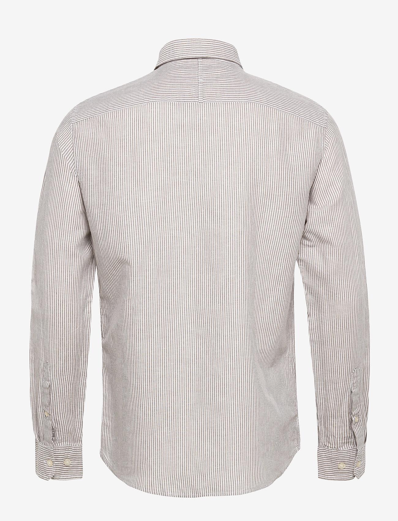 Banana Republic - Untucked Slim-Fit Linen-Cotton Shirt - casual shirts - brown mini stripe - 1