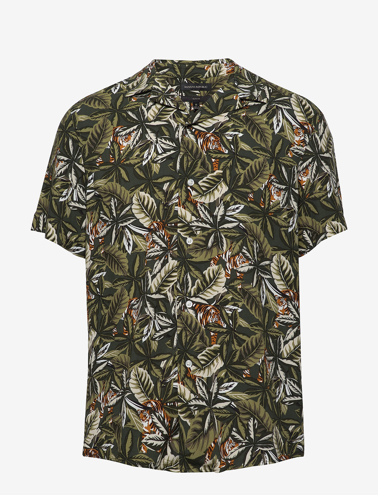 Banana Republic - Slim Soft Resort Shirt - short-sleeved shirts - olive - 0