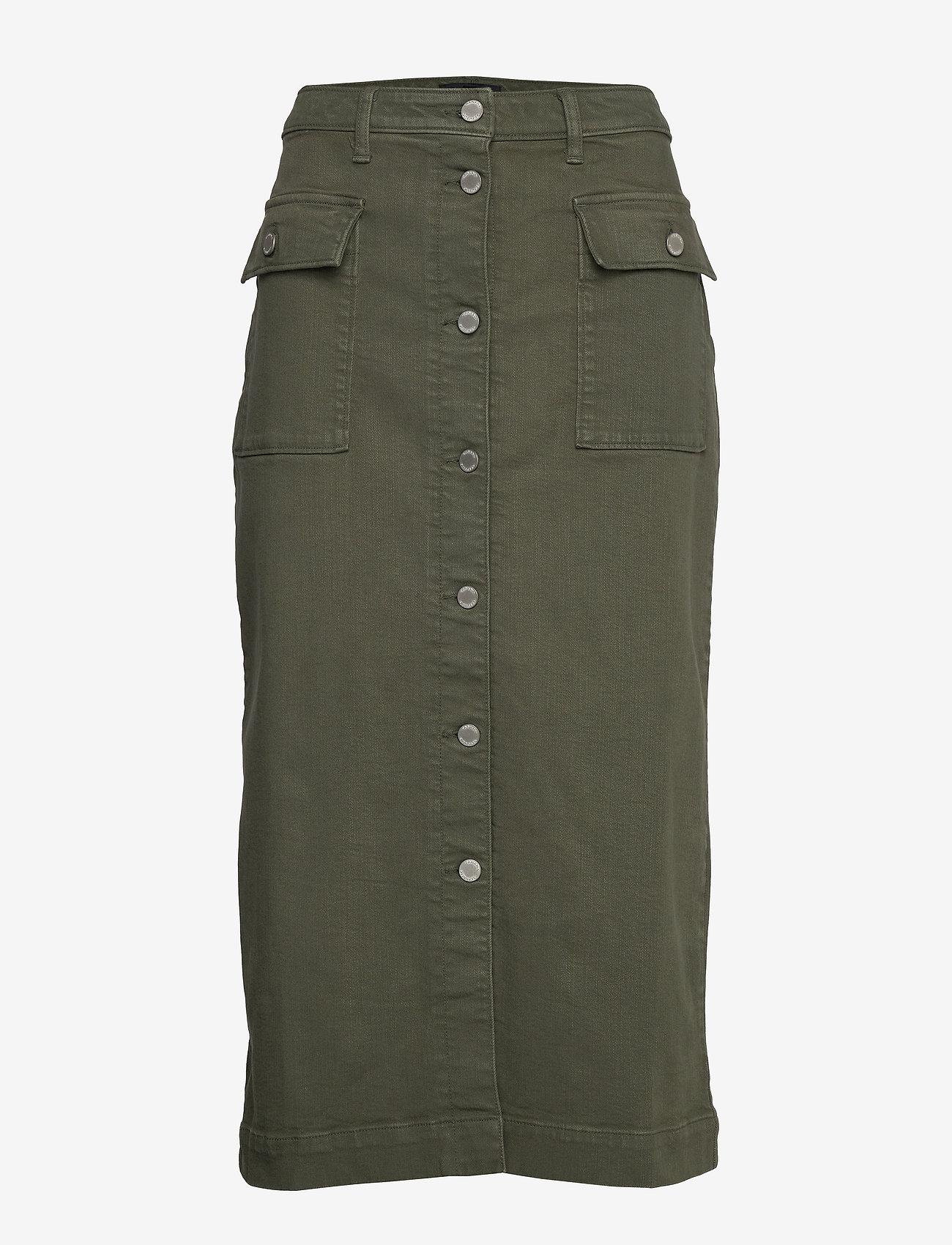 Banana Republic - Denim Utility Midi Skirt - maxi skirts - dark olive 629 - 0